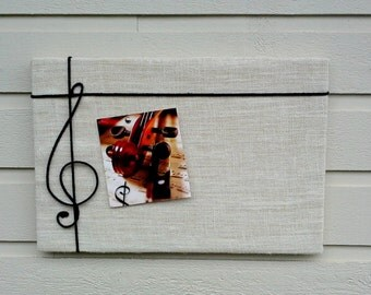 Musical themed Pin Board in Natural Burlap with a black cord treble cleff, classical music gift for grad, customize your color choice