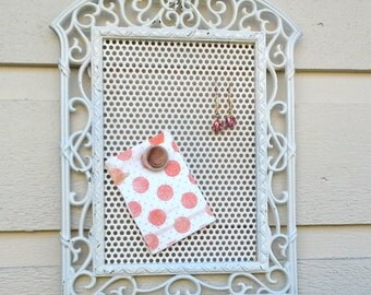 Earring Holder, White painted metal vintage frame with a lovely sunburst detail, magnetic display for earrings and photos