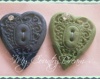 "handmade Buttons ""Sparkle Heart"" - polymer clay buttons - set of 2 pcs."