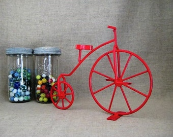 Vintage Upcycled Metal Art Bicycle in Cherry Red / Fun Metal Art Bicycle / Cyclist Home/Office Decor / Kid's Room Decor / Nursery Decor