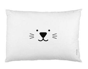 White Minimalist Pillowcase / Kids Pillow / Animal / Cat / Bunny Pillow / Modern Children Bedding / Monochrome Nursery / Scandinavian Style