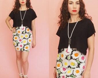 90s Bodycon Skirt // Bandage Skirt // Floral Print Skirt // Emanuel Ungaro Skirt // High Waist Skirt // Designer Vintage