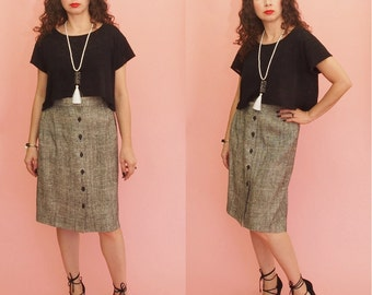 90s Pencil Skirt // High Waist Skirt // Speckled Skirt // Tweed Skirt // Midi Skirt // Vintage