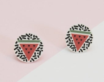 SALE Funky Fondled and Fresh Watermelon Earrings Shrink Plastic Film Handmade Geometric Memphis Inspired