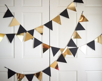 Bunting Banner for Black and Gold Party Decor.  Handcrafted in 2-3 Business Days.  Pennant Banner.  Photo Backdrop.
