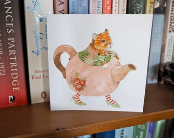 "Original watercolor drawing of Cat in a Teapot on card 5""x5"" square card"