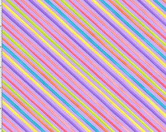 NEW Loralie Designs Blossom Bias Stripe Purple fabric - 1 yard