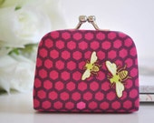 Hive in Raspberry - Tiny Kiss lock Coin Purse/Jewelry holder