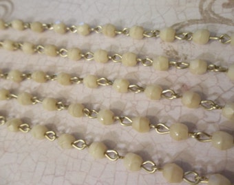 Bead Chain Opaque Ivory 4mm Fire Polished Glass Beads on Brass Beaded Chain - Qty 18 Inch strand