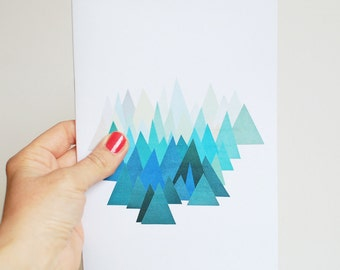 A5 Notebook, Geometric Blue Mountain Journal, 100% Recycled - Cold Mountain