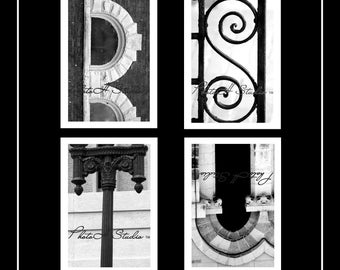 Letter R, S, T, U - Architectural Alphabet 4 X 6 Black and White Print free shipping on 2 or more