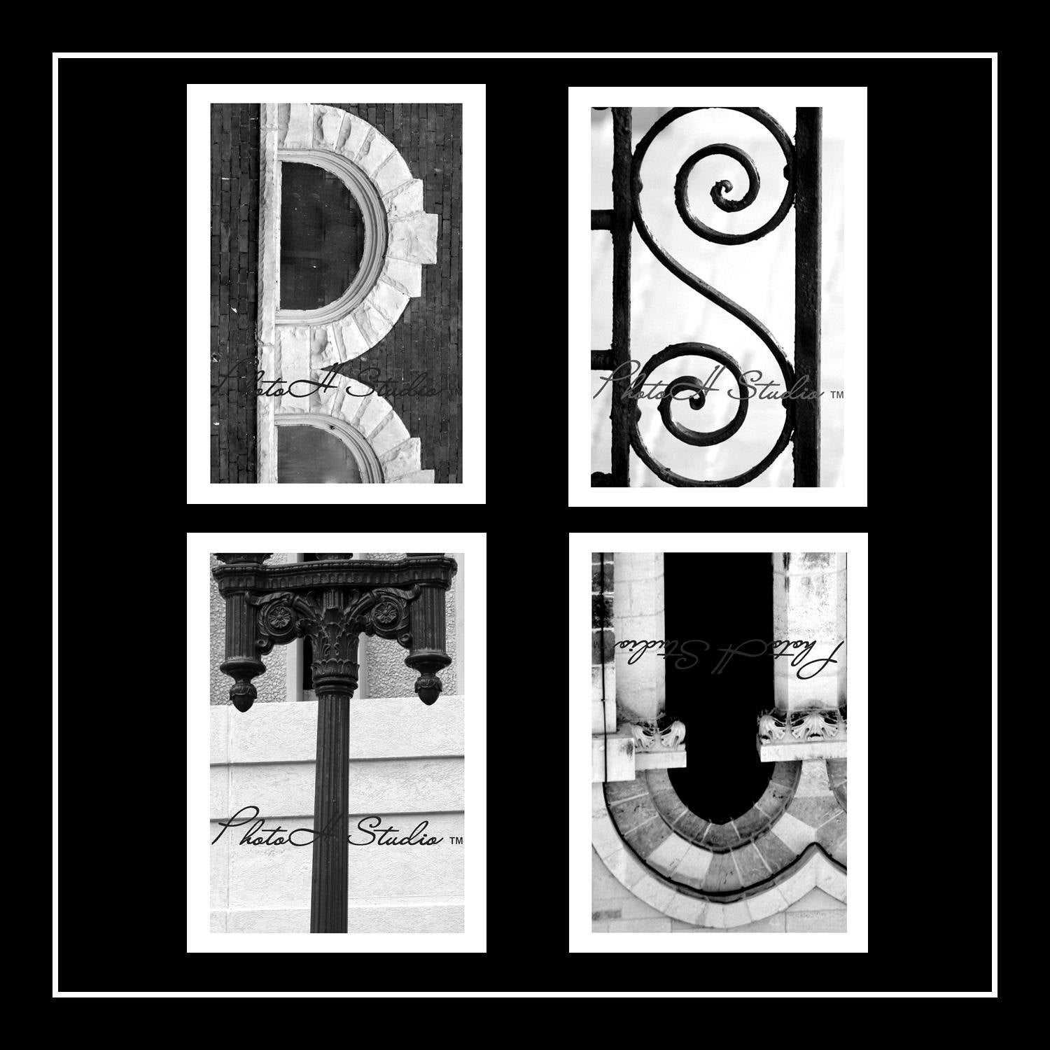 Architectural Letters: Letter R S T U Architectural Alphabet 4 X 6 Black And