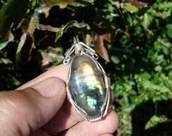 labradorite pendant wire wrapped pendant