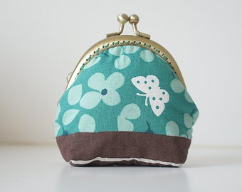 Coin Purse // Blossoms // Butterfly // Green (Turquoise)
