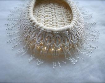 Photo prop White Newborn Basket Baby Cocoon photo prop White newborn nest Baptism white cocoon Swaddle Sack Crochet newborn cocoon Precious