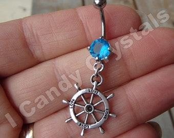 Boater Charm Crystal Belly Button Ring 14 Gauge