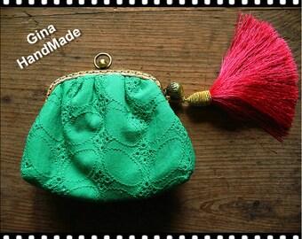 Embroidered emerald  Coin purse  Metal frame purse  Coin Wallet  Pouch  Kiss lock bag  Coin bag