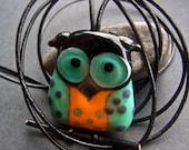 Funky Owl Pendant - free shipping - Handmade Lampwork Bead by Anne Schelling, SRA