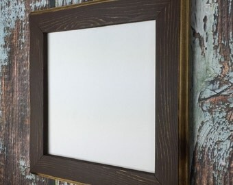 8 x 8 Picture Frame, Brown Rustic Weathered Style With Routed Edges, Square Picture Frame, Home Decor, Wooden Frames, Rustic Wood Frames