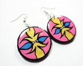 Modern, Small Southwestern Inspired Earrings in Gold, Bubble Gum Pink and Indigo