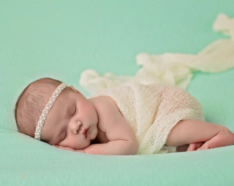 Pearl Baby Headband, Baby Bling, Baby Girl Headband, Newborn Headband, Baby Photo Prop, Newborn Photo Prop