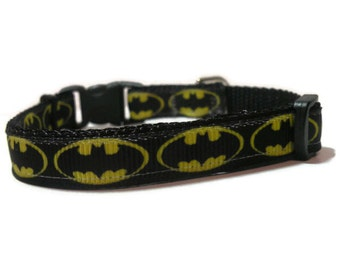 XS batman collar with paw charm. FREE Custom Engraved Tag with every collar.
