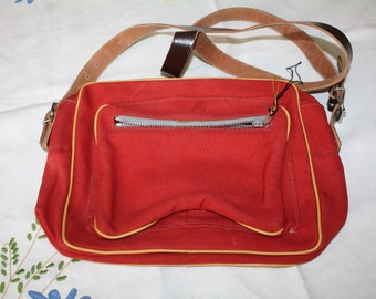Red Canvas Purse Shoulder Bag 1950s Unused with Tag Vintage