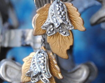 TULIP LEAVES--Vintage Marcasite Tulip Flower Leaf Gold Filled Chain Link EARRINGS
