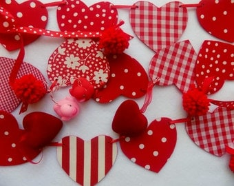 HEART GARLAND * Fabric Felt Heart Garland Banner for VALENTINE'S Day * Doubled Sided Fabric Garland Bunting * Reversible