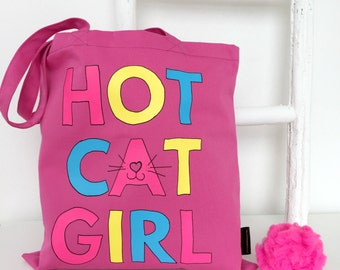 Hot Cat Girl Tote   Slight Second   Funny Cat Gifts   Gifts For Cat Lovers   Cat Bag   Cat Lady Gift   Gifts For Pet Lovers   Cat Tote