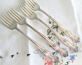 Shabby Cottage Chic Silverware 4 Silverplate Forks Rogers Silver Plate Forks Viande Grille Forks Inspiration Magnolia Floral Silverware
