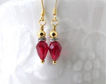 Christmas Light Earrings, Swarovski Earrngs, Siam Earrings, Gold Earrings, Custom Earrings, Holiday, Birthday, Free US Shipping