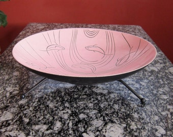 Roselane Pottery Pink Fish/Dolphin Design Salad Bowl with Stand