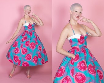GORGEOUS 1950s Inspired New Look Vibrant Painted Cotton Halter Sun Dress w/ Huge Red Roses by Designer Laura Ashley - Hip Pockets - Size S