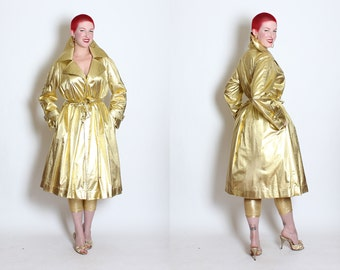 SPECTACULAR 1960's Metallic Liquid Gold Lame' Weather-Proof Fit n' Flare Glamour Coat by Raincheetahs by Naman - Tie Belt - Lined in Satin
