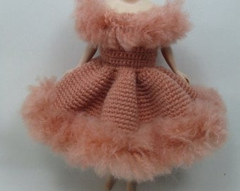 Handcrafted crochet knitting dress outfit clothes for Blythe doll # 200-30