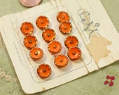 """Antique gorgeous Czech glass tiny buttons on card flowers pumpkin orange gold  deco gorgeous pattern  7/16"""" new old stock"""