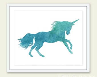 Unicorn Print - Watercolor Unicorn Art Print - Unicorn Wall Art - 8x10 - Teal Blue Unicorn Art - Nursery Decor - Aldari Art