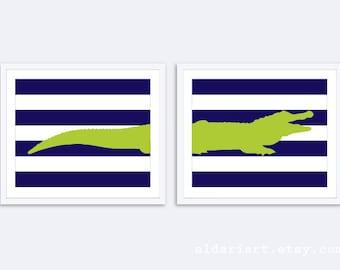 Crocodile Art Print - Set of 2 Prints - Alligator Print - Crocodile Wall Art - Alligator Nursery Decor - Blue and Green Art - Aldari Art