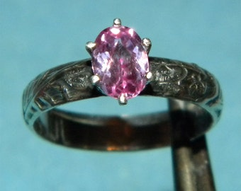 Pink Topaz Deco ring SIZE 6.5 solid Sterling Silver .925