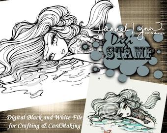 PRINTABLE Digi Stamp Mermaid Treasure Map Girl Tattoo Coloring Page Fun Fantasy Art Hannah Lynn