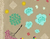 Tan Aqua and Mustard Floral Cotton Fabric, Mochi by Rashida Coleman for Cotton and Steel, Mochi Floral, 1 Yard