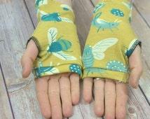 Womens Fingerless Gloves - Organic arm warmers- Short stretchy gloves-Texting gloves- Fingerless mitts-Driving Gloves