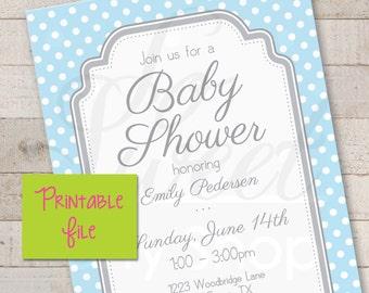 Boys Baby Shower Invitations PRINTABLE - Blue and Gray Polkadots - Boy Baby Shower Decorations - Boy Baby Shower Invites - DIY