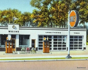 Mid Century Modern Gas Station Art, Classic Car Decor, Gulf Oil, Old Gas Station, Fathers Day Gift, Car Guy Dad Gift Vintage Service Station