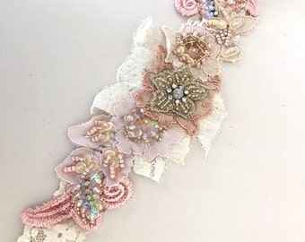 Dusty pink beaded lace headband flowergirl headband