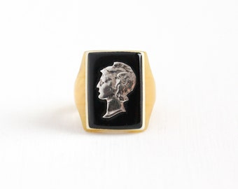 Sale - Vintage 900 Silver Mercury Dime Coin & Butterscotch Yellow Lucite Ring - Size 7 Currency Cameo Black White Early Plastic Jewelry