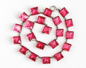 Vintage Art Deco Pink Glass Necklace - 1920s 1930s Silver Tone Faceted Open Back Collar Costume Prong Set Square Jewelry