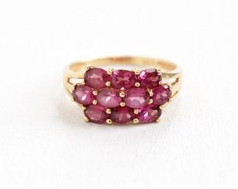 Estate 14k Yellow Gold Pink Rhodolite Garnet Ring - Size 7 Pink Gemstone Fine Cluster Jewelry