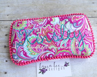 You Choose Trim Color, Pink and Lime Paisley Explosion, Travel Baby Wipe Case, Personalized Wipe Case, Baby Shower Gift, Baby Wipe Clutch